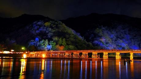 嵐山 花灯路 渡月橋 夜